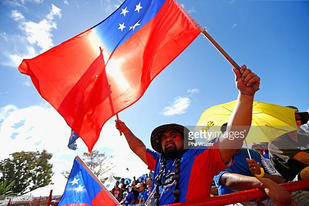 Manu Samoa supporters before the International Test match between Samoa and the New Zealand All Blacks at Apia Stadium on July 8 2015 in Apia Samoa