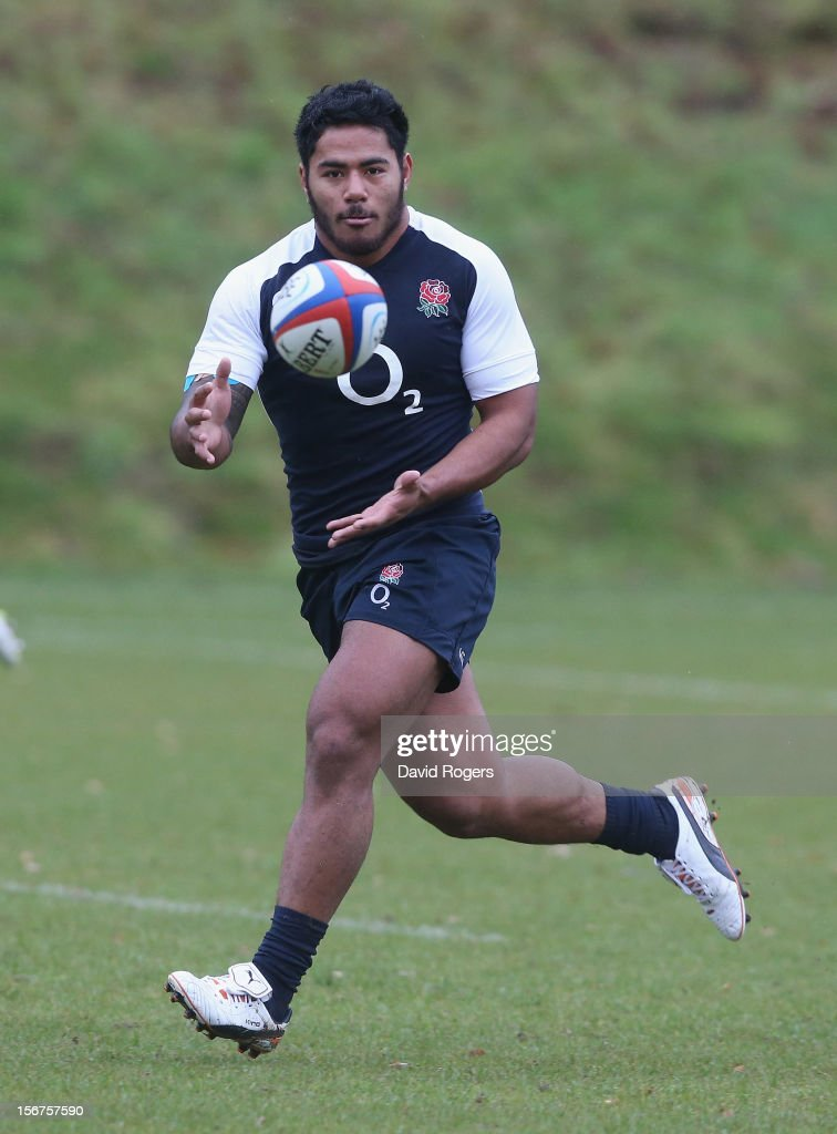 <a gi-track='captionPersonalityLinkClicked' href=/galleries/search?phrase=Manu+Tuilagi&family=editorial&specificpeople=5493832 ng-click='$event.stopPropagation()'>Manu Tuilagi</a> catches the ball during the England training session held at Pennyhill Park on November 20, 2012 in Bagshot, England.
