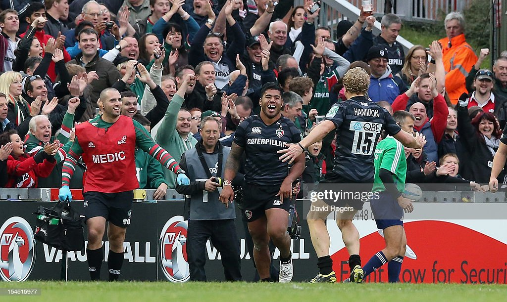 <a gi-track='captionPersonalityLinkClicked' href=/galleries/search?phrase=Manu+Tuilagi&family=editorial&specificpeople=5493832 ng-click='$event.stopPropagation()'>Manu Tuilagi</a> celebrates, with team mate Scott Hamilton after scoring the fourth Leicester try during the Heineken Cup match between Leicester Tigers and Ospreys at Welford Road on October 21, 2012 in Leicester, United Kingdom.