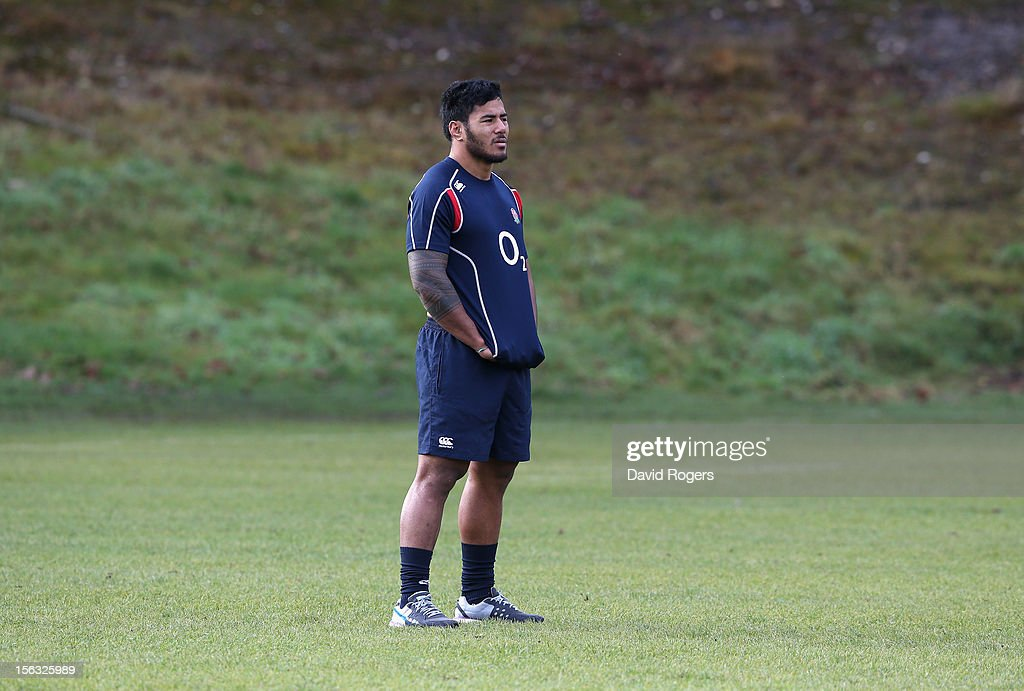 <a gi-track='captionPersonalityLinkClicked' href=/galleries/search?phrase=Manu+Tuilagi&family=editorial&specificpeople=5493832 ng-click='$event.stopPropagation()'>Manu Tuilagi</a> looks on during the England training session held at Pennyhill Park on November 13, 2012 in Bagshot, England.
