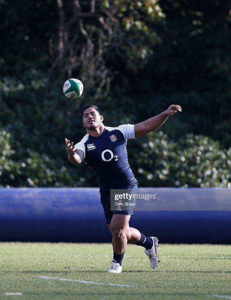 <a gi-track='captionPersonalityLinkClicked' href=/galleries/search?phrase=Manu+Tuilagi&family=editorial&specificpeople=5493832 ng-click='$event.stopPropagation()'>Manu Tuilagi</a> of England in action during the England training session at Pennyhill Park on February 8, 2013 in Bagshot, England.