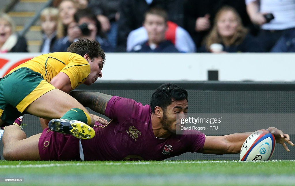 Manu Tuilagi of England scores a try during the QBE International match between England and Australia at Twickenham Stadium on November 17 2012 in...