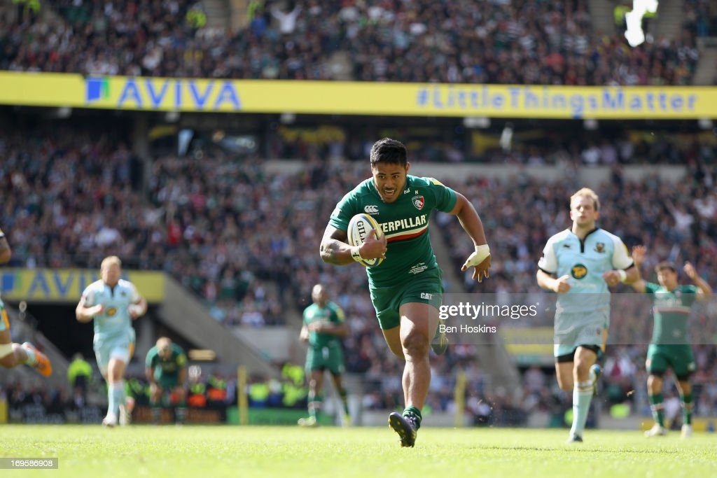 <a gi-track='captionPersonalityLinkClicked' href=/galleries/search?phrase=Manu+Tuilagi&family=editorial&specificpeople=5493832 ng-click='$event.stopPropagation()'>Manu Tuilagi</a> of Leicester breaks away to score his team's third try during the Aviva Premiership Final between Leicester Tigers and Northampton Saints at Twickenham Stadium on May 25, 2013 in London, England.