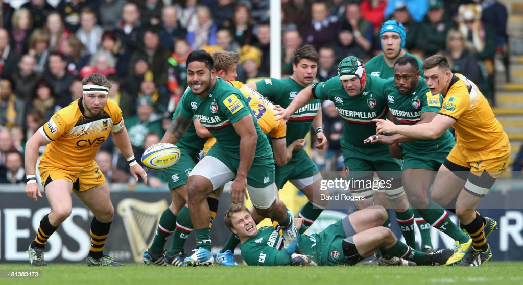 Manu Tuilagi of Leicester breaks with the ball during the Aviva Premiership match between Leicester Tigers and London Wasps at Welford Road on April...