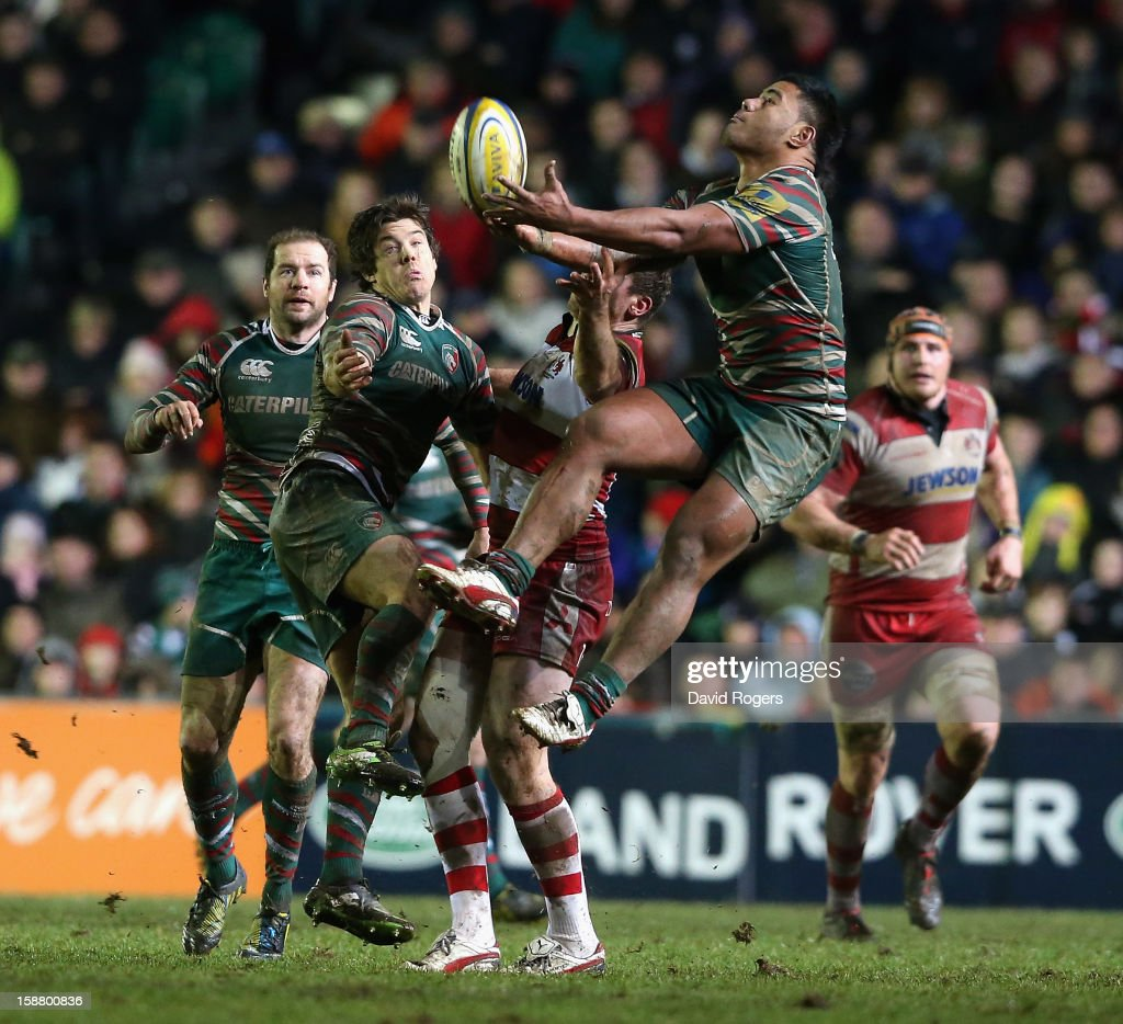 <a gi-track='captionPersonalityLinkClicked' href=/galleries/search?phrase=Manu+Tuilagi&family=editorial&specificpeople=5493832 ng-click='$event.stopPropagation()'>Manu Tuilagi</a> of Leicester catches the high ball during the Aviva Premiership match between Leicester Tigers and Gloucester at Welford Road on December 29, 2012 in Leicester, England.