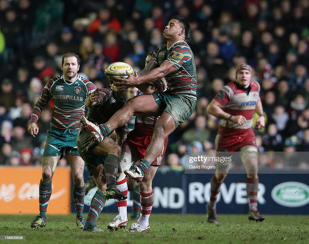 Manu Tuilagi of Leicester catches the high ball during the Aviva Premiership match between Leicester Tigers and Gloucester at Welford Road on December 29, 2012 in Leicester, England.