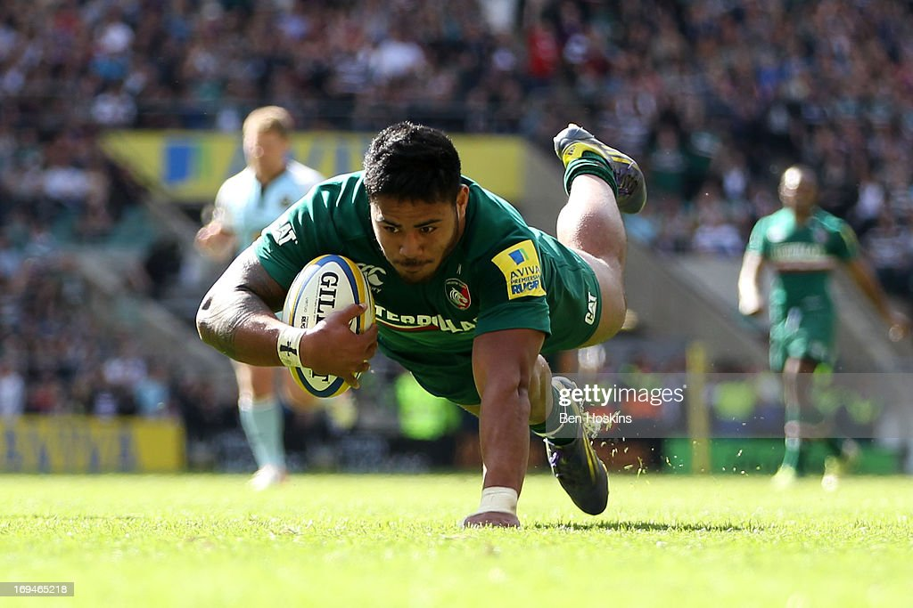 <a gi-track='captionPersonalityLinkClicked' href=/galleries/search?phrase=Manu+Tuilagi&family=editorial&specificpeople=5493832 ng-click='$event.stopPropagation()'>Manu Tuilagi</a> of Leicester dives over the line to score his team's third try during the Aviva Premiership Final between Leicester Tigers and Northampton Saints at Twickenham Stadium on May 25, 2013 in London, England.