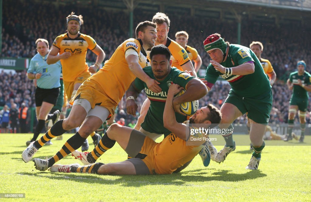 Manu Tuilagi of Leicester dives over to score his second try Leicester's third during the Aviva Premiership match between Leicester Tigers and London...