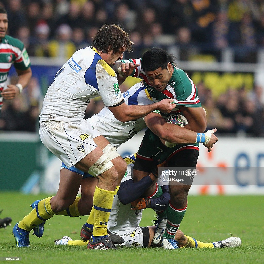 Leicester Centre Manu Tuilagi Is Tackled: ASM Clermont Auvergne V Leicester Tigers