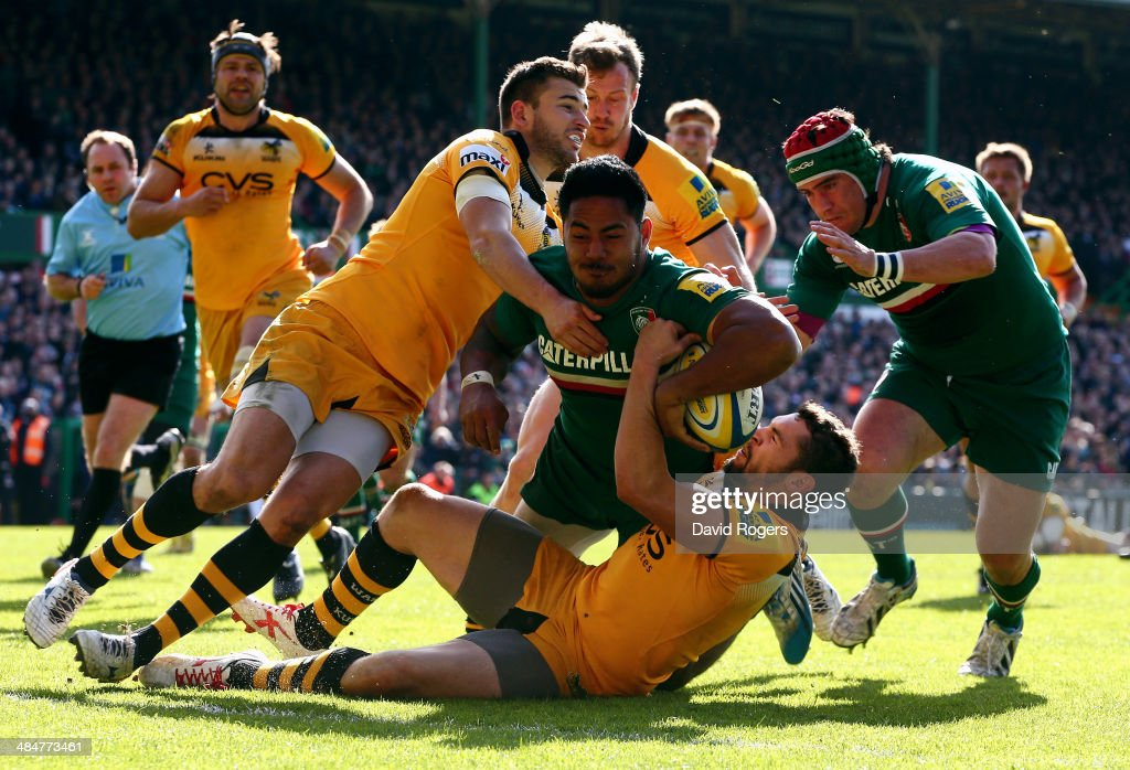 Manu Tuilagi of Leicester powers over to score his second try and Leicester's third during the Aviva Premiership match between Leicester Tigers and...