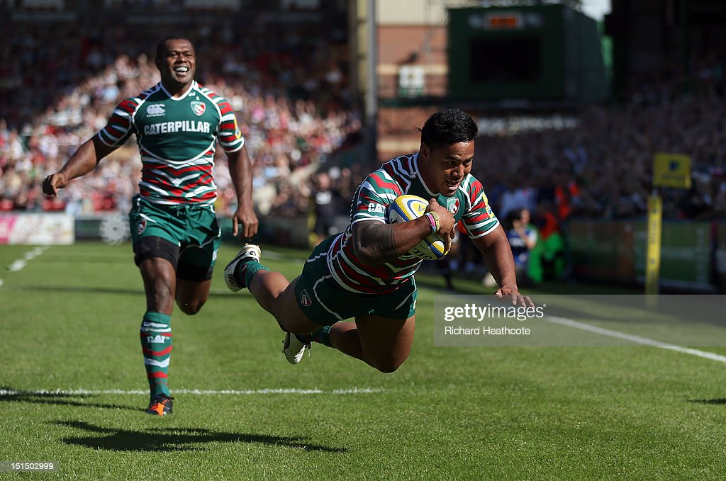 Manu Tuilagi of Tigers dives over to score the first try during the Aviva Premiership match between Leicester Tigers and Worcester Warriors at...