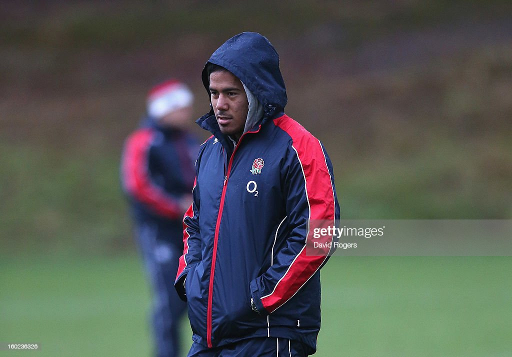<a gi-track='captionPersonalityLinkClicked' href=/galleries/search?phrase=Manu+Tuilagi&family=editorial&specificpeople=5493832 ng-click='$event.stopPropagation()'>Manu Tuilagi</a>, who has an injured ankle and will miss the match against Scotland, walks off the pitch during the England training session held at Pennyhill Park on January 28, 2013 in Bagshot, England.