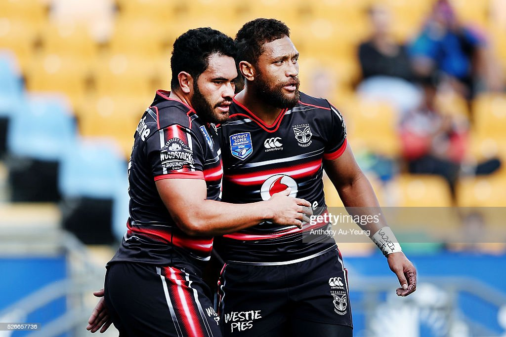 Manu Vatuvei and Konrad Hurrell of the Warriors acknowledges each other during the round nine NSW Intrust Super Cup Premiership match between the New Zealand Warriors and the Canterbury Bankstown Bulldogs at Mt Smart Stadium on May 1, 2016 in Auckland, New Zealand.