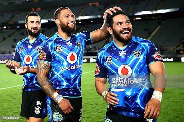Manu Vatuvei and Konrad Hurrell of the Warriors celebrate during a lap of Eden Park during the round nine NRL match between the New Zealand Warriors...