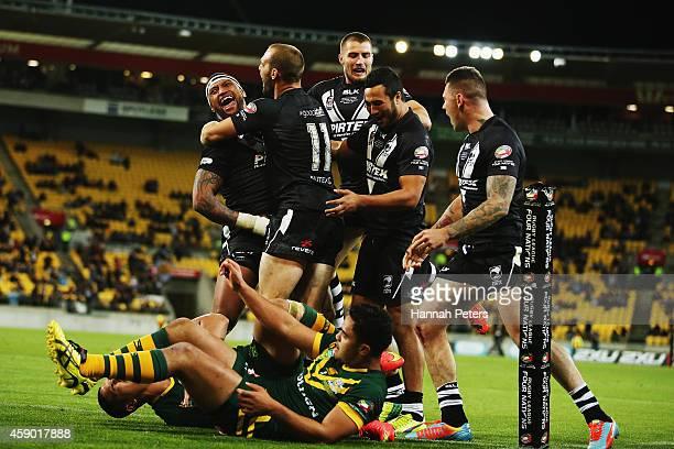 Manu Vatuvei of New Zealand celebrates after scoring a try during the Four Nations Final between the New Zealand Kiwis and the Australian Kangaroos...