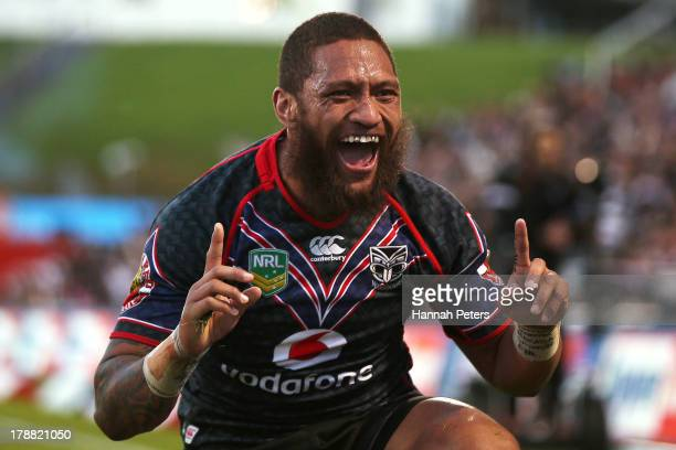 Manu Vatuvei of the Warriors celebrates after scoring a try during the round 25 NRL match between the New Zealand Warriors and the Canberra Raiders...