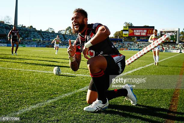 Manu Vatuvei of the Warriors celebrates after scoring a try during the round 20 NRL match between the Canberra Raiders and the New Zealand Warriors...