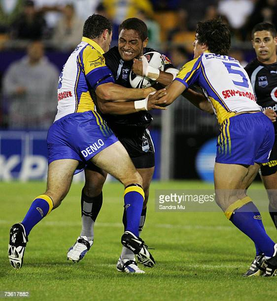 Manu Vatuvei of the Warriors gets caught in a tackle during the round one NRL match between the Warriors and the Parramatta Eels at Mount Smart...