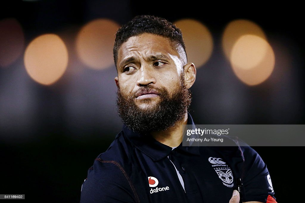Manu Vatuvei of the Warriors looks on as he sits out the round 15 NRL match between the New Zealand Warriors and the Sydney Roosters at Mt Smart Stadium on June 19, 2016 in Auckland, New Zealand.