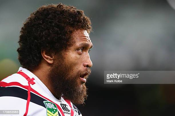Manu Vatuvei of the Warriors looks on during the round 14 NRL match between the Sydney Roosters and the New Zealand Warriors at Allianz Stadium on...