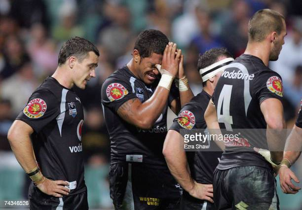 Manu Vatuvei of the Warriors puts his hands to his face after the Eels scored a try that resulted from him turning the ball over during the round 11...