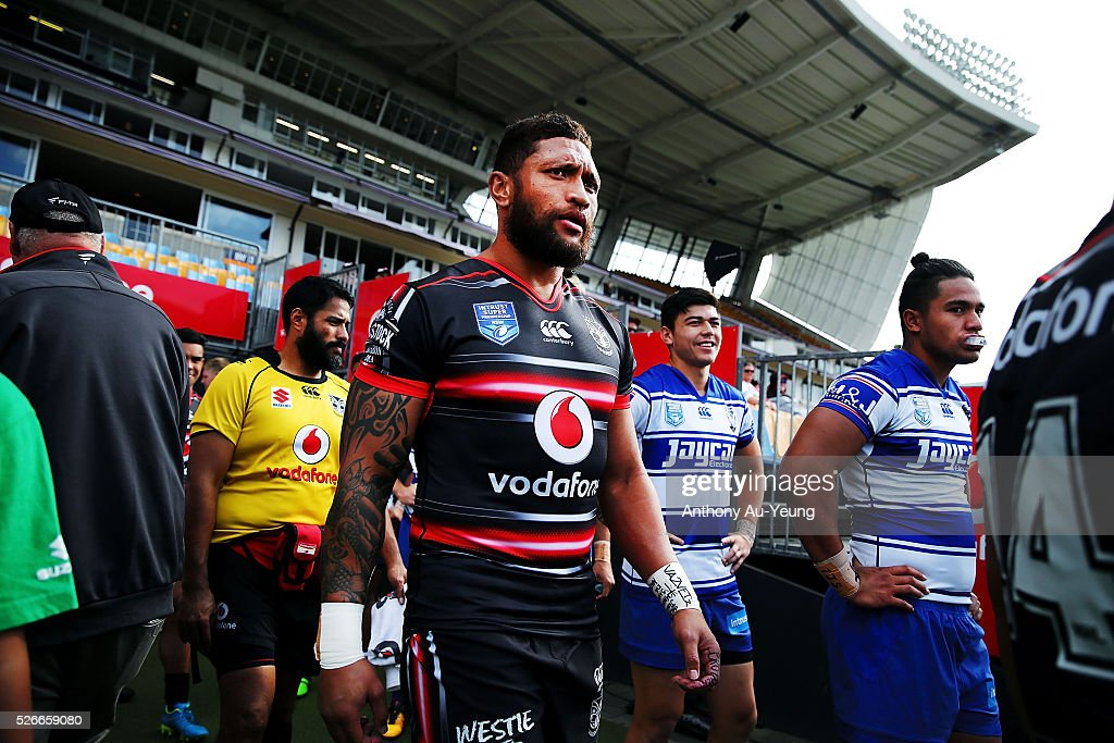 Manu Vatuvei of the Warriors walks out to the field during the round nine NSW Intrust Super Cup Premiership match between the New Zealand Warriors and the Canterbury Bankstown Bulldogs at Mt Smart Stadium on May 1, 2016 in Auckland, New Zealand.