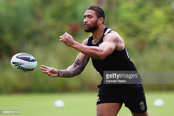 Manu Vatuvei runs through drills during a New Zealand Warriors NRL media and training session at Mt Smart Stadium on December 4 2015 in Auckland New...
