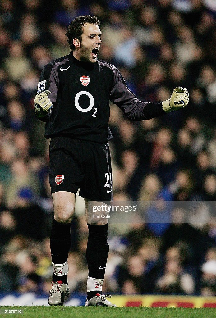 Manual Almunia, the Arsenal keeper, celebrates his teams goal during the Barclays Premiership match between Portsmouth and Arsenal at Fratton Park on December 19, 2004 in London, England.