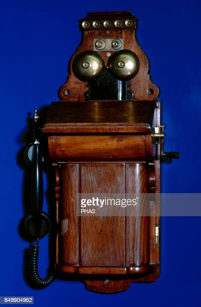 Manual telephone switchboard with handset Ericsson LM Communications for railway services in Asturias Spain In dependencies with several telephone...