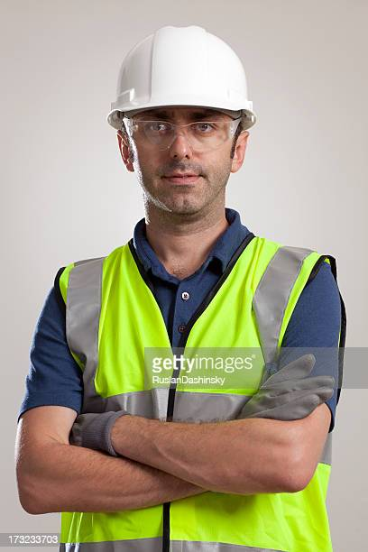 Manual worker portrait wearing safety gear