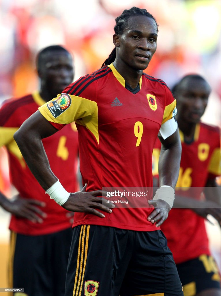 Manucho of Angolo reacts during the 2013 African Cup of Nations match between South Africa and Angola at Moses Mahbida Stadium on January 23 2013 in...