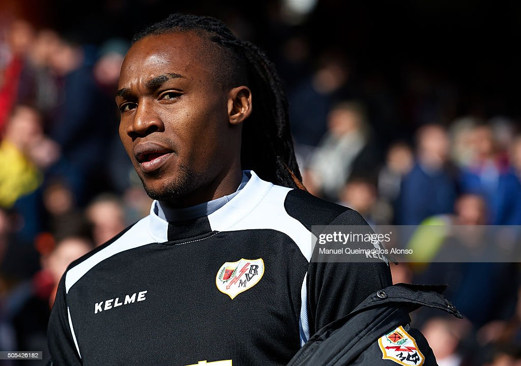 Manucho of Rayo Vallecano looks on prior to the La Liga match between Valencia CF and Rayo Vallecano at Estadi de Mestalla on January 17, 2016 in Valencia, Spain.