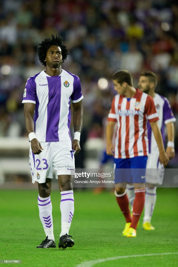 Manucho of Real Valladolid CF reacts after his team failed to score during the La Liga match between Real Valladolid CF and Club Atletico de Madrid at Estadio Jose Zorilla on September 21, 2013 in Valladolid, Spain.