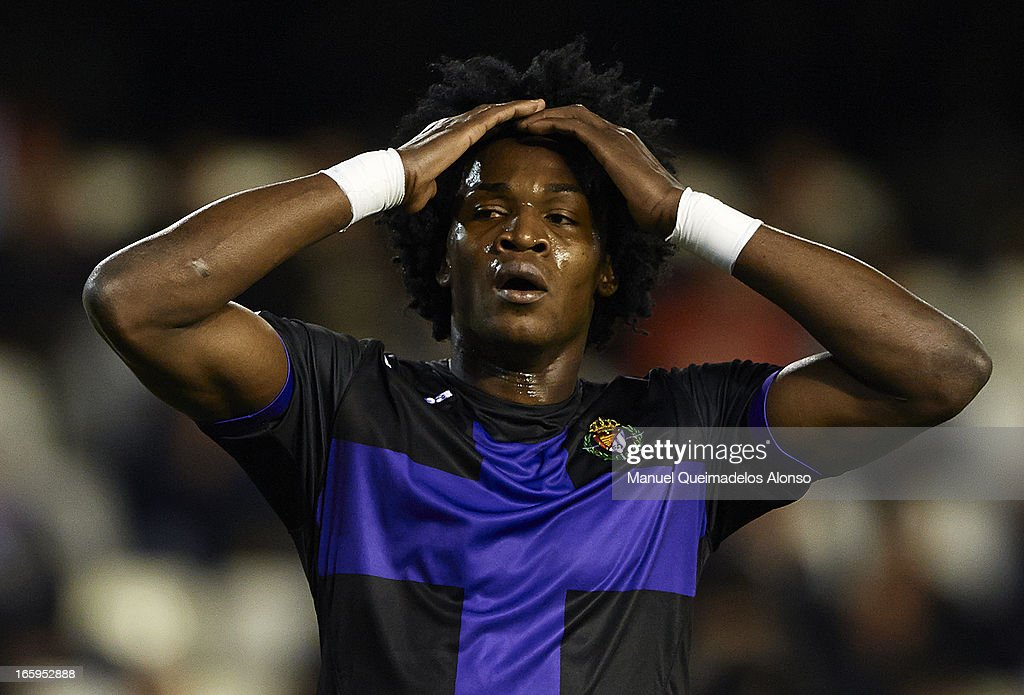 Manucho of Real Valladolid reacts as he fails to score during the La Liga match between Valencia CF and Real Valladolid CF at Estadio Mestalla on April 7, 2013 in Valencia, Spain.