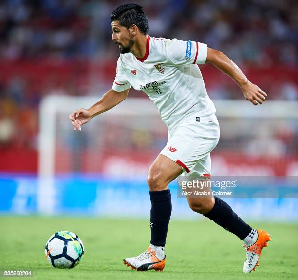 Manuel Agudo 'Nolito' of Sevilla FC in action during the La Liga match between Sevilla and Espanyol at Estadio Ramon Sanchez Pizjuan on August 19...