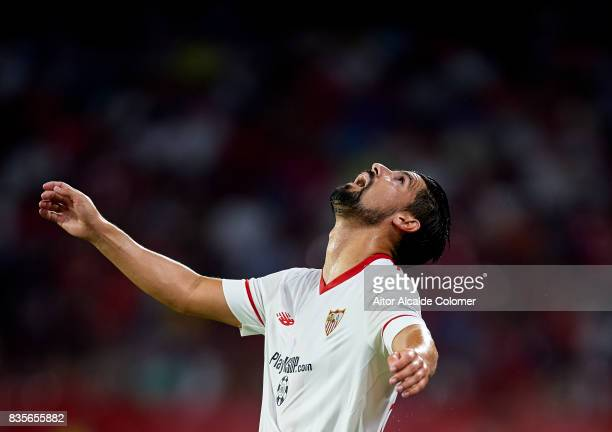 Manuel Agudo 'Nolito' of Sevilla FC looks on during the La Liga match between Sevilla and Espanyol at Estadio Ramon Sanchez Pizjuan on August 19 2017...