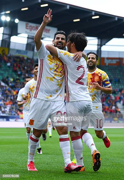 Manuel Agudo 'Nolito' of Spain celebrates after scoring the opening goal during an international friendly match between Spain and Bosnia at the AFG...