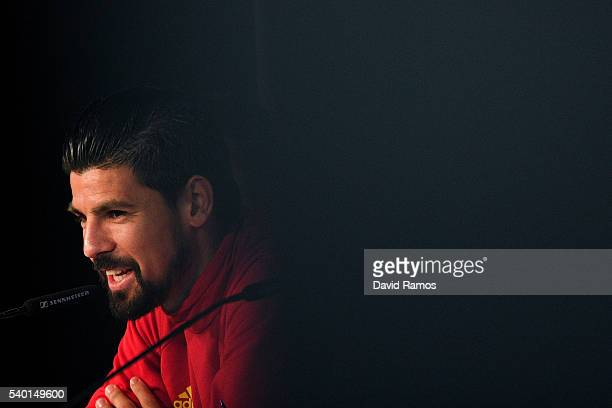 Manuel Agudo 'Nolito' of Spain faces the media during a press conference on June 14 2016 in La Rochelle France