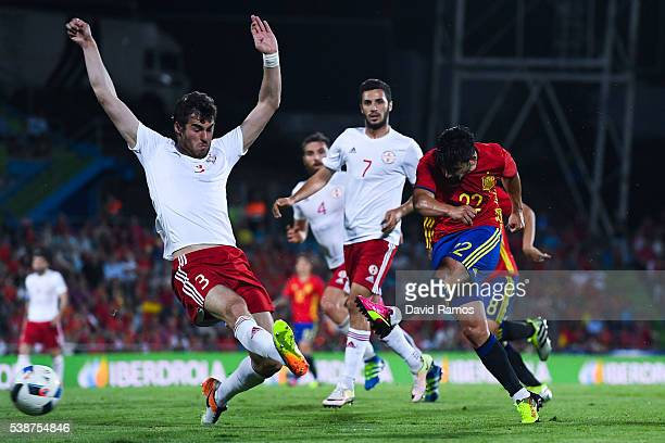 Manuel Agudo 'Nolito' of Spain shoots towards goal under a challenge by Kverkvelia during an international friendly match between Spain and Georgia...