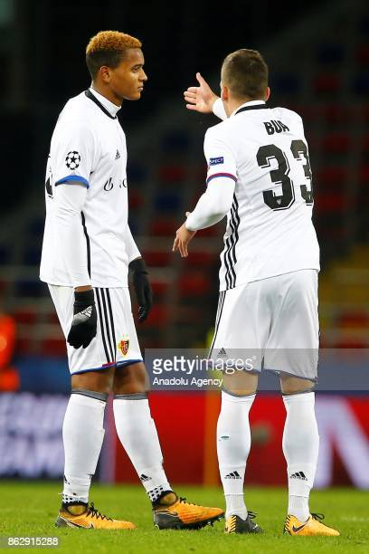 Manuel Akanji and Kevin Bua of Basel are seen during the UEFA Champions League Group A soccer match between CSKA Moscow and Basel at VEB Arena in...