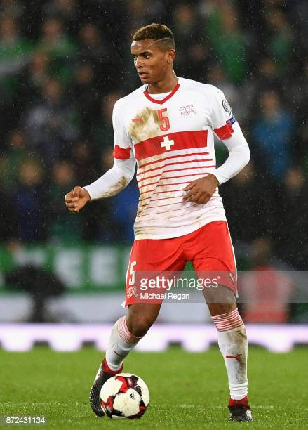 Manuel Akanji of Switzerland in action during the FIFA 2018 World Cup Qualifier PlayOff First Leg between Northern Ireland and Switzerland at Windsor...