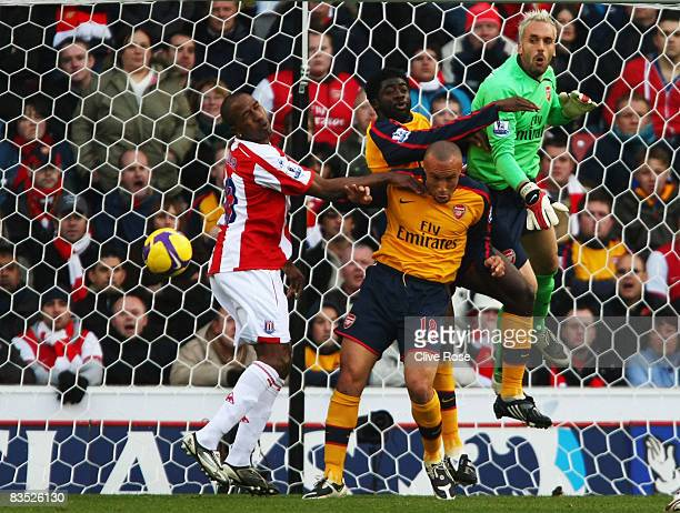 Manuel Almunia of Arsenal punches clear during the Premier League match between Stoke City and Arsenal at the Britannia Stadium on November 1 2008 in...
