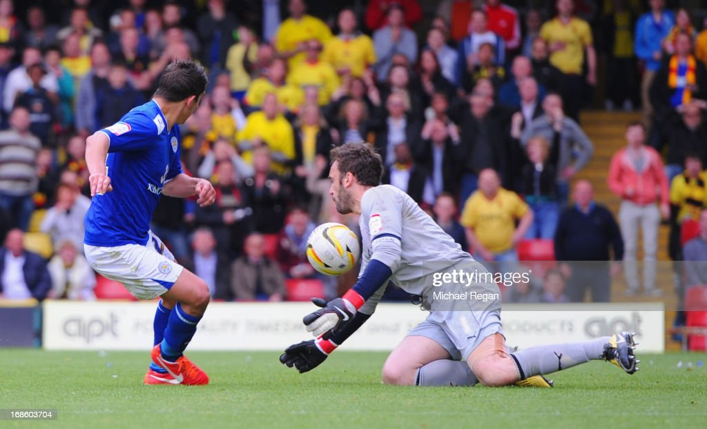 Manuel Almunia of Watford saves from Anthony Knockaert of Leicester during the npower Championship Play Off Semi Final: Second Leg between Watford and Leicester City at Vicarage Road on May 12, 2013 in Watford, England.