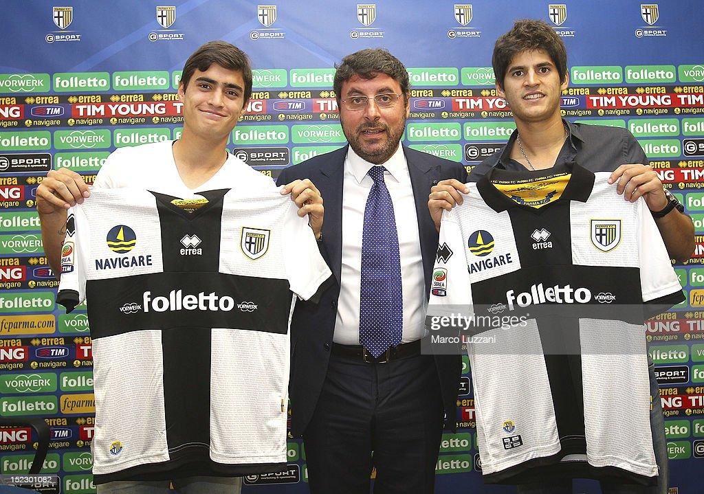 Manuel Arteaga Pietro Leonardi and Emilio MacEachen during the unveiling press conference at Ennio Tardini Stadium on September 18 2012 in Parma Italy