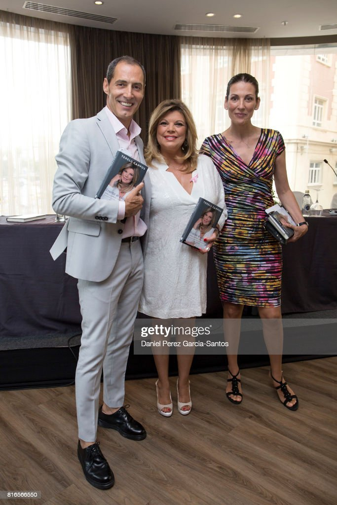 Manuel Bandera, Terelu Campos and Remedios Cervantes attend the presentation of the new book 'Frente Al Espejo' on July 17, 2017 in Malaga, Spain.