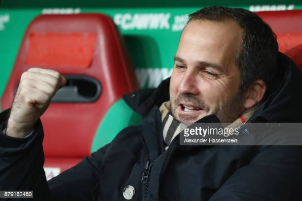 Manuel Baum head coach of Augbsurg looks on prior to the Bundesliga match between FC Augsburg and VfL Wolfsburg at WWKArena on November 25 2017 in...