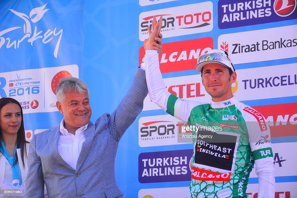 Manuel Belletti (R) of Southeast Venezuela poses for a photo as he gets 2nd place on the Fethiye-Marmaris lap on the 7th stage of the 52nd Presidential Cycling Tour of Turkey in Mugla, Turkey on April 30, 2016.