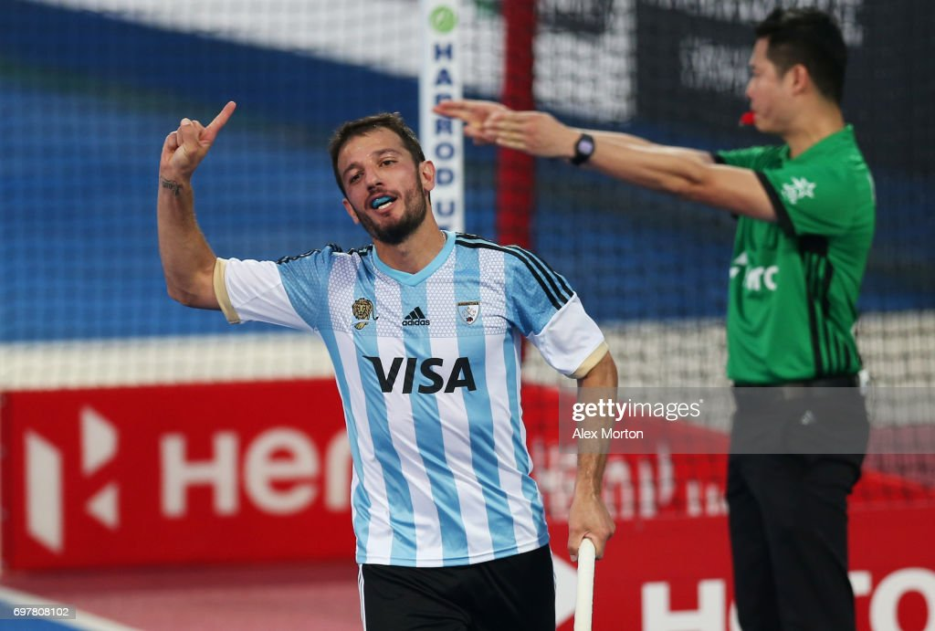 Manuel Brunet of Argentina celebrates after scoring his team's seventh goal during the Pool A match between Argentina and China on day five of Hero Hockey World League Semi-Final at Lee Valley Hockey and Tennis Centre on June 19, 2017 in London, England.