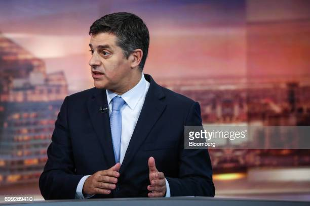 Manuel Caldeira Cabral Portugal's economy minister speaks during a Bloomberg Television interview in New York US on Wednesday June 21 2017 Cabral...