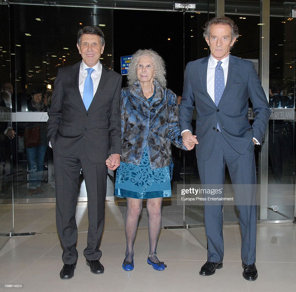 Manuel Colonques, Duchess of Alba Cayetana Fitz-James Stuart and Duke of Alba Alfonso Diez attend the Porcelanosa new store opening on December 20, 2012 in Seville, Spain.